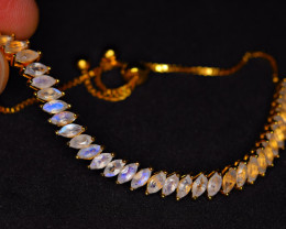 Natural Worthy Attractive 33 Pieces Rainbow Moonstone 925 Silver Bracelet
