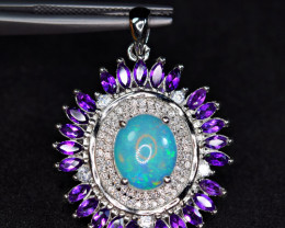 Natural AAA Top Fire Opal,25Pis Amethyst , CZ 925 Silver Fabulous Pendant