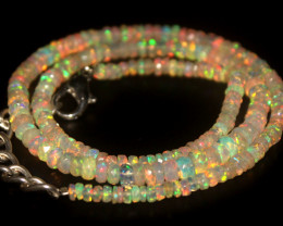 38.90 Crts Natural Welo Faceted Opal Beads Necklace 423