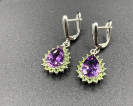 Natural Amethyst and Peridot Silver Earrings 38.16 Cts