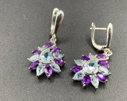 Multi Stones Blue Topaz and Amethyst Silver Earrings 33.02 Cts