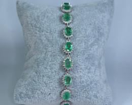 Natural Precious 9 Pis Emerald , CZ 925 Silver Bracelet