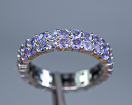 Natural 48 Pieces Tanzanite 925 Silver Ring