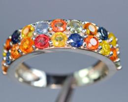 Natural Fresh Design 22Pis beryllium multi sapphire 925 Silver Ring