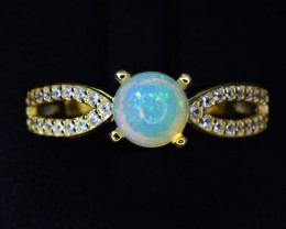 Natural Opal , CZ and 925 Silver Ring