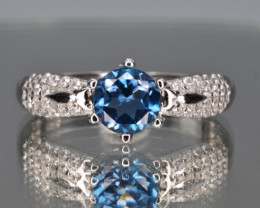 Natural London Topaz , CZ and 925 Silver Ring
