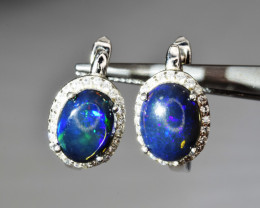 Natural Opal , CZ and 925 Silver Earrings
