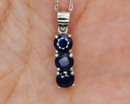 Natural Sapphire and 925 Silver Pendant with Chain