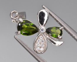 Natural Green Chrome Diopside  , CZ  and 925 Silver Pendant
