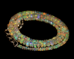 42.90 Crts Natural Welo Faceted Opal Beads Necklace 320