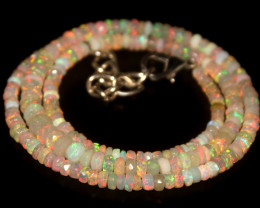 35.70 Crts Natural Welo Faceted Opal Beads Necklace 363