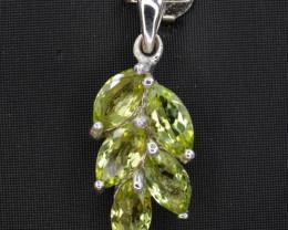 Natural Green Peridot 12.85 Cts CZ and  Silver Pendant
