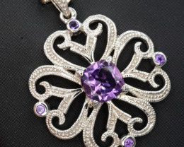 Natural Amethyst 31.04 Cts Silver Pendant Amazing Design