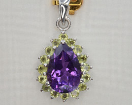 Natural Amethyst and Peridot  15.98 Cts Silver Pendant Top Quality