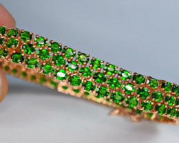 Natural Worthy Attractive 124 Pieces Chrome Diopside 925 Silver Bracelet