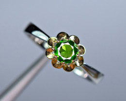 Natural  Chrome Diopside  925 Silver Special Ring