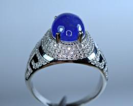 Natural Huge Tanzanite Cabochon , CZ 925 Silver Special Man Ring