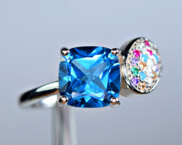 Natural AAA London Blue Topaz , Color CZ  925 Silver Ring