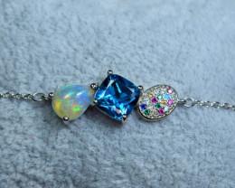 Natural AAA Multi Fire Opal , London Blue Topaz ,CZ 925 Silver Bracelet