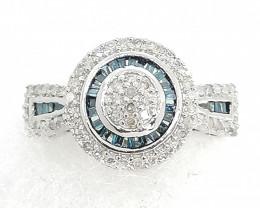 Blue and White Diamond Ring 0.50tcw.
