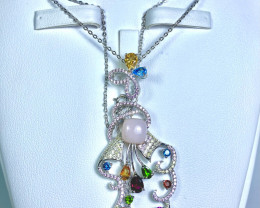 Natural Multi color stones ,CZ 925 Silver with full Chain Necklace