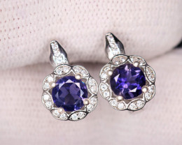 Gorgeous Natural Iolite, CZ  & 925 Fancy Sterling  Silver Earrings
