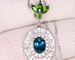 Gorgeous Natural London Blue Topaz, Chrome Diopside, CZ & 925 Stylish Sterl