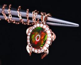 Gorgeous Turtle Design Natural Black Fire Opal, CZ & 925 Rose Gold Stylish