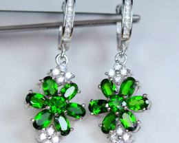 Natural 14Pis Chrome Diopside , CZ 925 Silver Nice Earrings