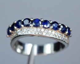 Natural 9 Pis Deep Blue  sapphire ,CZ 925 Silver Amazing Ring