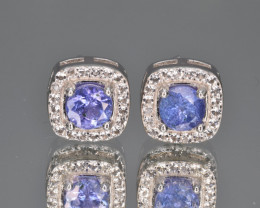 Natural Tanzanite , CZ and 925 Silver Earrings