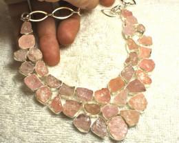 607.5 Tcw. Rose Quartz Rough Sterling Silver Necklace - Gorgeous