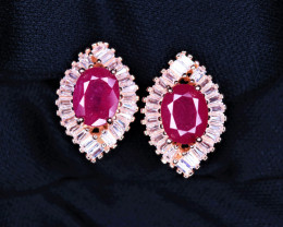 Attractive Natural Ruby, CZ & 925 Rose Gold Fancy Sterling Silver Earring