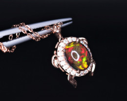 Gorgeous Turtle Design Natural Fire Opal, CZ & 925 Rose Gold Stylish Sterli