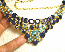 437.5 Tcw. Sapphire, Zircon, Silver, Gold Plated Necklace - Gorgeous