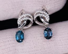 Gorgeous Natural London Topaz, CZ & 925 Fancy Sterling  Silver Earring