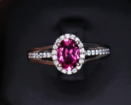 Gorgeous Natural Pink Topaz, CZ & 925 Stylish Sterling  Silver Ring