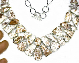 500.0 Tcw. Rosetta Jasper / Sterling Silver Necklace - Gorgeous