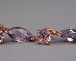 Natural Amethyst Rose Gold Plating On Silver Earrings 11.17 Cts