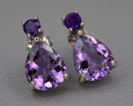 Natural Amethyst Silver Earrings 12.71 Cts Nice Design