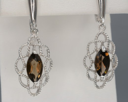 Natural Smoky Quartz 32.31 Cts Silver Earring
