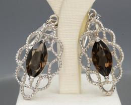 AAA Beautiful Natural Smoky Quartz 32.31 Cts Silver Earring