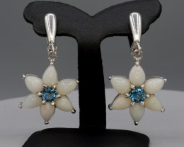 Natural Opal and Blue Topaz 45.41 Cts  Silver Earrings