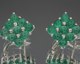 Natural Chrome Diopside  Silver Earrings 34.89 Cts Unique Design