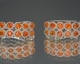 Coated Topaz and CZ, Silver Earrings 28.63 Cts Unique Design