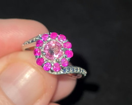 Gorgeous stirling silver sapphire & tourmaline ring