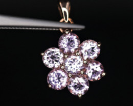 Gorgeous Natural Amethyst & 925Stylish Rose Gold Sterling  Silver Pendant