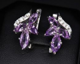 Fabulous Natural Amethyst, CZ & 925 Stylish Sterling  Silver Earrings