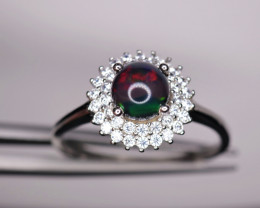 Gorgeous Natural Black Fire Opal, CZ & 925 Sterling  Silver Ring