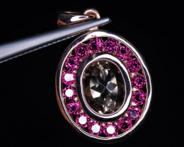 Fabulous Natural Quartz, Garnet & 925 Stylish Rose Gold Sterling  Silver Pe